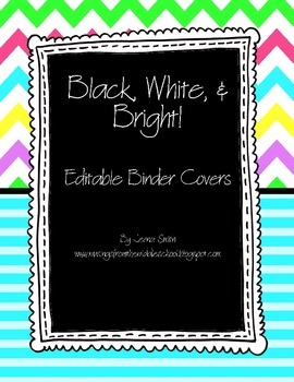 Editable Binder Covers and Spines - Black, White, and Bright!