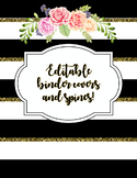 Editable Binder Covers and Spines- Black and Gold