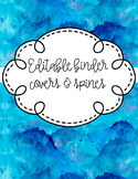Editable Binder Covers and Spines- Deep Watercolors