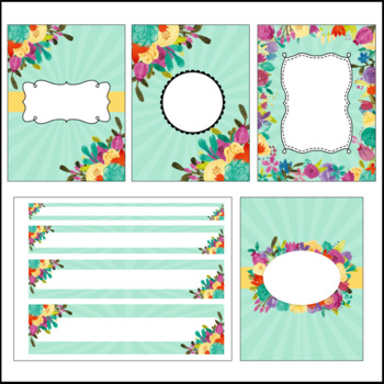 Editable Binder Covers and Spines - Floral