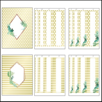 Editable Binder Covers and Spines - Gold Foil & Succulents