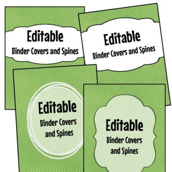 Editable Binder Covers and Spines  - Lime with White Dots