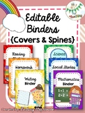 Editable Binder Covers and Spines {RAINBOW}