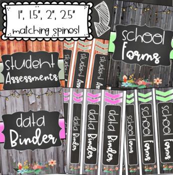 Editable Binder Covers and Spines Teacher Planner Rustic Shabby Chic Farmhouse