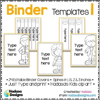 Editable Binder Covers and Spines Templates 1 - Hadasa's Kids Edition