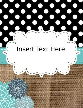 free editable binder covers and spines turquoise burlap and dots