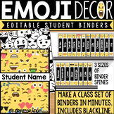 Editable Binder Covers and Spines for Students: Emoji Theme