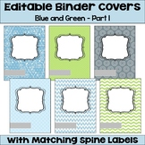 Editable Binder Covers and Spines in Blue and Green