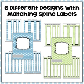 Editable Binder Covers & Spines in Blue & Green with Owls - Part 2