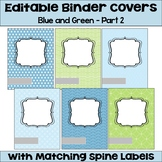 Editable Binder Covers and Spines in Blue and Green with Owls