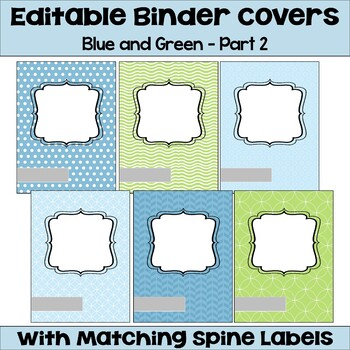 Editable Binder Covers & Spines in Blue & Green with Owls