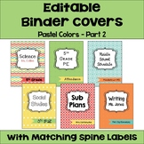 Editable Binder Covers and Spines in Pastel Colors Part 2