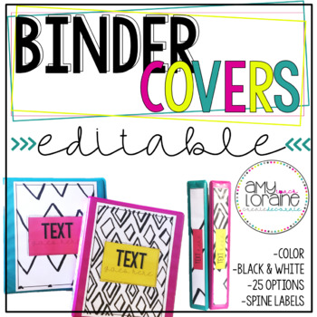 Editable Binder Covers with Matching Spine Labels