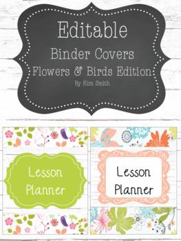Shabby Chic/Farmhouse Editable Binder Covers  Flowers & Birds Edition