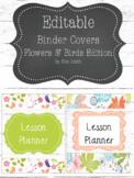 Shabby Chic/Farmhouse Editable Binder Covers  Flowers & Bi