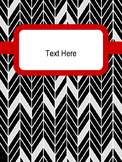 Editable Binder Covers with Spines-Black and White Herringbone