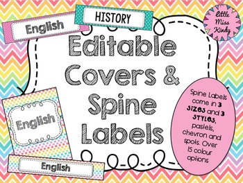 Editable Binder Folder Covers and spine labels in Pastel, Chevron and spots