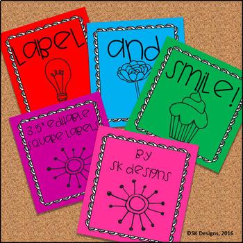 Editable Classroom Folder, Supply, Book Bin  3X3 Labels, Simple