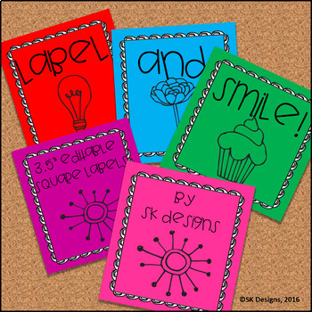 Editable Classroom Folder, Supply, Book Bin  3X3 Labels, Simple