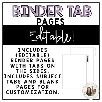 Editable Binder Tab Pages