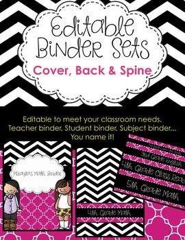 Editable Binder Sets - Chevron, Magenta - Teacher, Student, Subject Binders