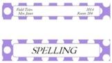 Classroom Decor Editable Binder Spine - Polka Dot