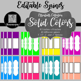 Editable Binder Spines - Essentials Collection: Solid Colors