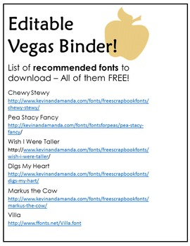 Editable Binder for TpT Conference - Vegas 2015!