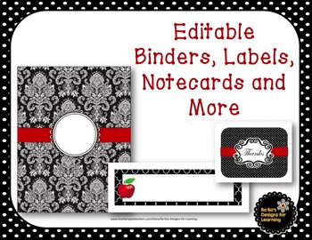 Editable Binders, Labels, Notecards and More Designed in Black, Red and White
