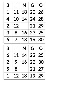 Editable Bingo Boards #1-30