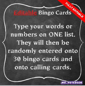 Editable Bingo Cards - Sight Words Vocabulary Spelling Math Terms ANYTHING