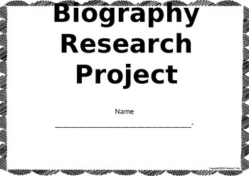 Editable Biography Research Notes Handout Student Worksheet