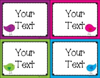 {Editable} Bird Classroom Labels