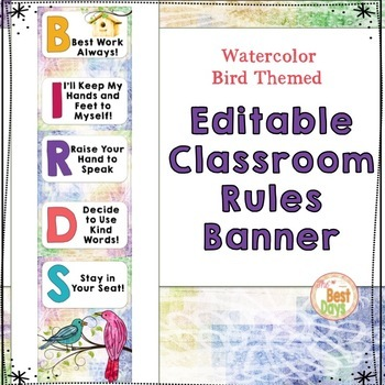 Editable Bird Themed Rule Banner:  Watercolor Bird Rules to Create Your Own!