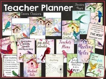 Editable Bird Themed 2018-2019 Teacher Planner:  Watercolor Birds