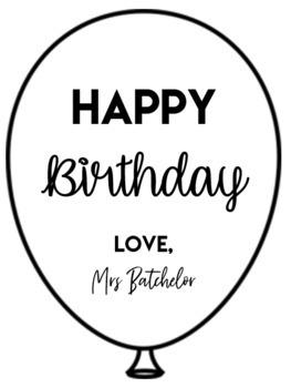 Editable Birthday Balloon Labels