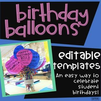 Editable Birthday Balloons