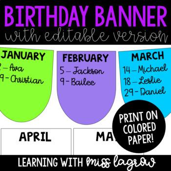 Editable Birthday Banner Pennant Display Classroom Decor