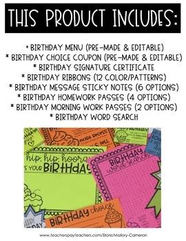 Editable Birthday Bundle