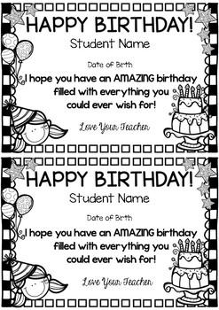 Editable Birthday Certificates