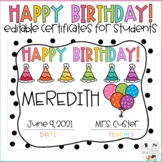 Editable Birthday Certificates for Students