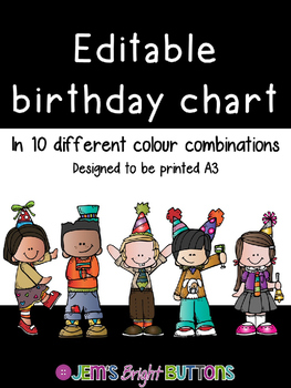 Editable Birthday Chart - 10 different colour options