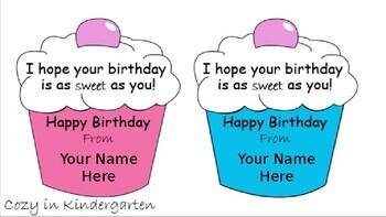 Editable Birthday Cupcake Pencil Tags