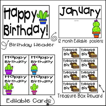 Editable Birthday Display- Cactus