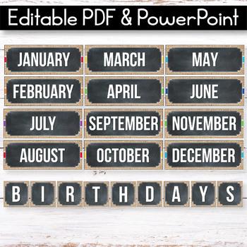 Editable Birthday Display, Editable Birthday Chart, Burlap Chalkboard Decor