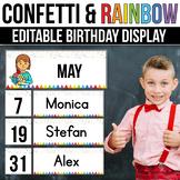 Editable Birthday Display Editable Birthday Chart Confetti Classroom Decor