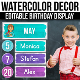 Editable Birthday Display, Editable Birthday Chart, Watercolor Decor