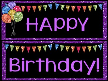 Editable Birthday Display - Glitter w/ Black Background