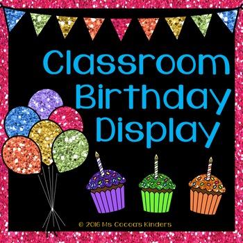 Editable Birthday Display - Glitter w/ Black Background