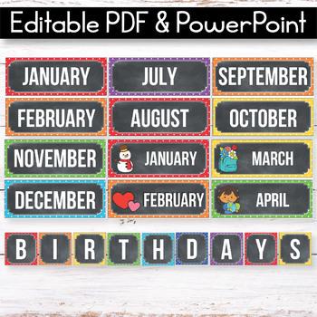 Editable Birthday Display, Polka Dot Chalkboard Classroom Decor